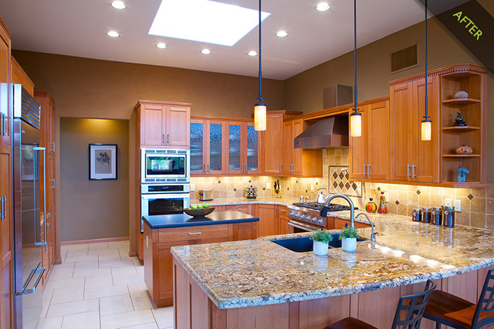 10- Transitional Kitchen remodel with alder kitchen cabinets topped with updated dentil molding, granite and slate kitchen counters. Fireclay kitchen sink by Franke and Grohe kitchen  faucet are accented by the recessed kitchen lighting placed throughout the kitchen
