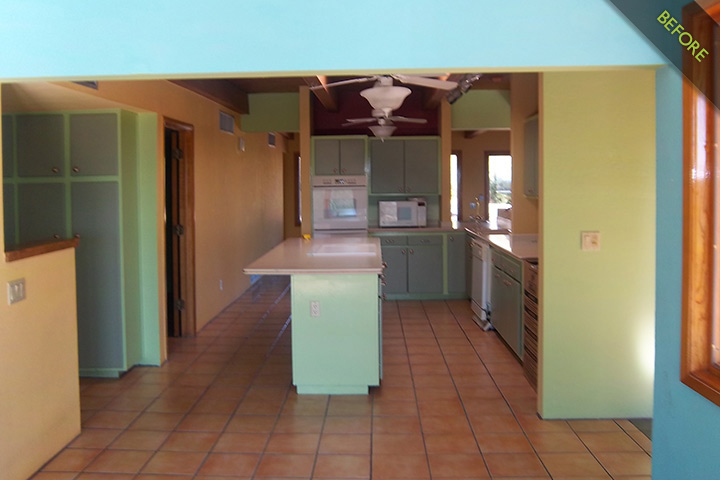 11- 1970's kitchen built in place painted cabinets,