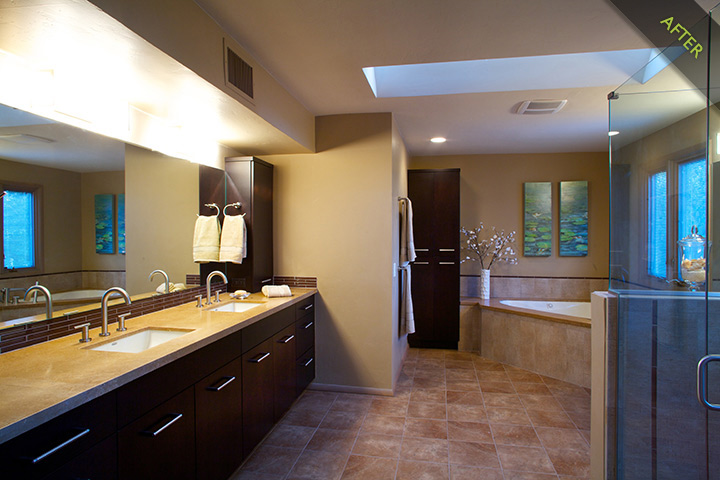 14- Master Bath remodel with ebony stained Bellmont alder cabinets accented with Danze fixtures, walk-in shower, under mounted jetted tub with roman tub assembly, and glass tile bathroom walls accents, double dome skylights illuminated by Tucson AZ sunshine