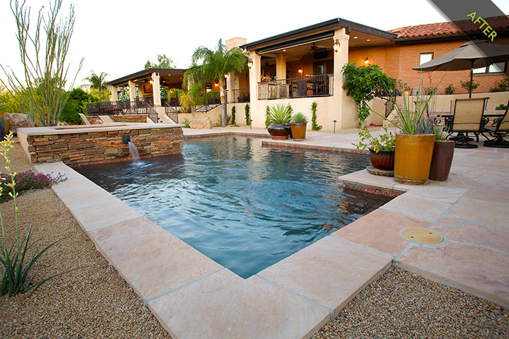 4-  The challenge was breaking up the liner long run of porch, eliminating the steps, and adding height to the pool. The remodeled elevated spa, exterior pool with new flagstone decking and stack stone accents and a deck converted to a new outdoor living space which includes s fireplace and outdoor kitchen.