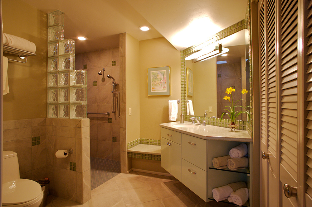 ... Transitional Master Bathroom Remodel With Cantilevered Bathroom Vanity  Cabinets, Quartz Bathroom Countertops, Accessible Roll ...