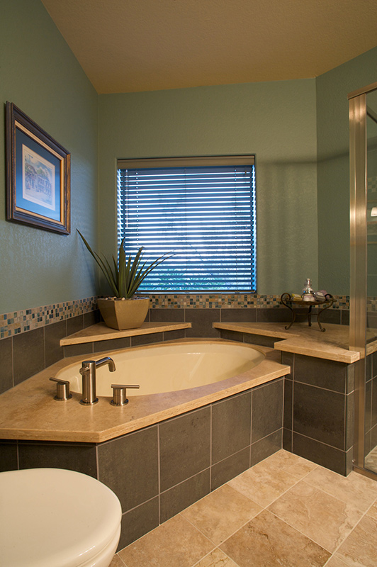 ... Bathroom Remodel Under Mounted Tub With Porcelain Wall Tile, Glass And  Slate Tile Accents The ...