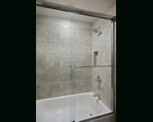 Contemporary Traditional Bath, Guest shower/tub combination.  Mosaic with marble and glass blend tile backsplash