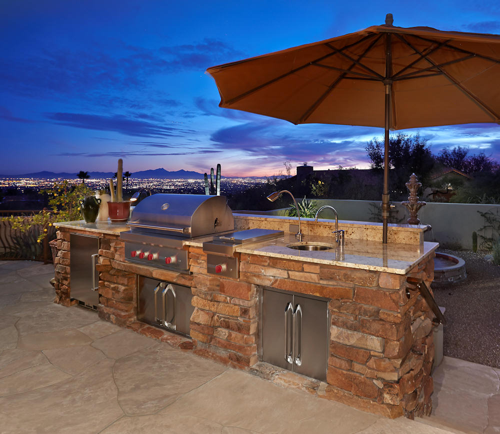 ... Old World Tuscan Outdoor Kitchen, Wolf Grilling Station With  Side Burner.