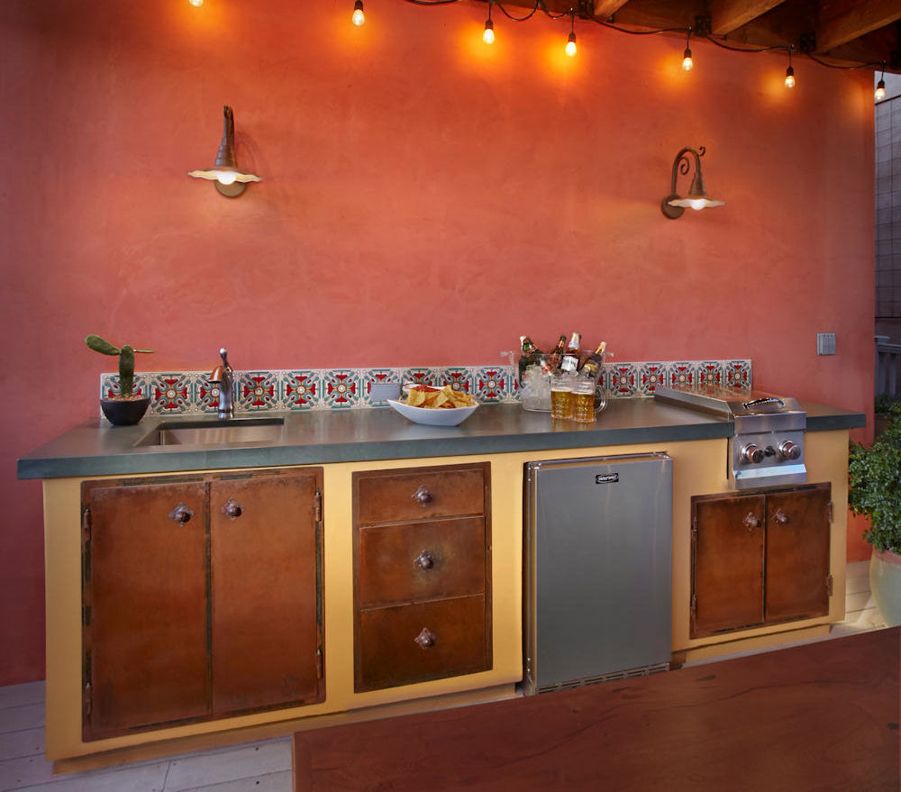 High Quality ... Rustic Mexican Outdoor Kitchen, Green Slate Countertop With Mexican  Tile Backsplash. Stainless Steel Sink ...