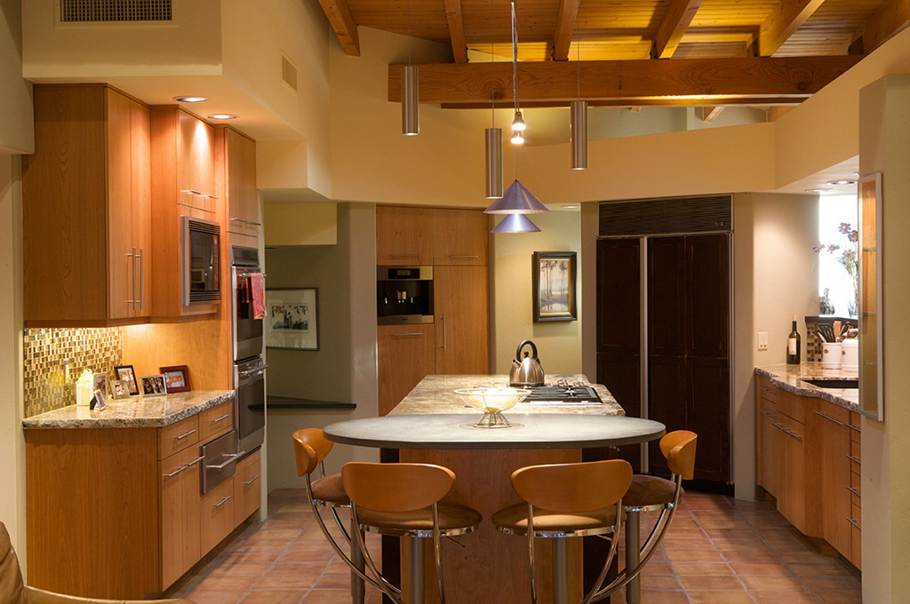 kitchen remodeling design.  Contemporary Kitchen Renovation With Frameless Full Overlay Cherry Kitchen Cabinets Matched Vertical Grain Finish Remodels Tucson