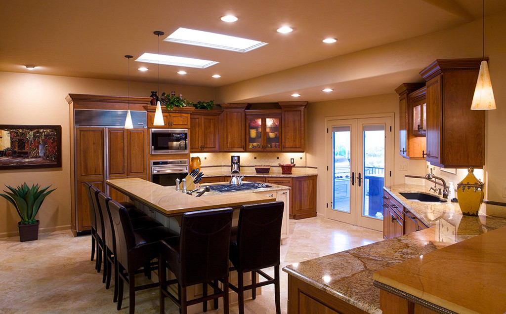 Quartz Concrete Traditional Remodeled Kitchen With A Mix Of Stained, Glazed  And Painted Kitchen Cabinets Topped With ...