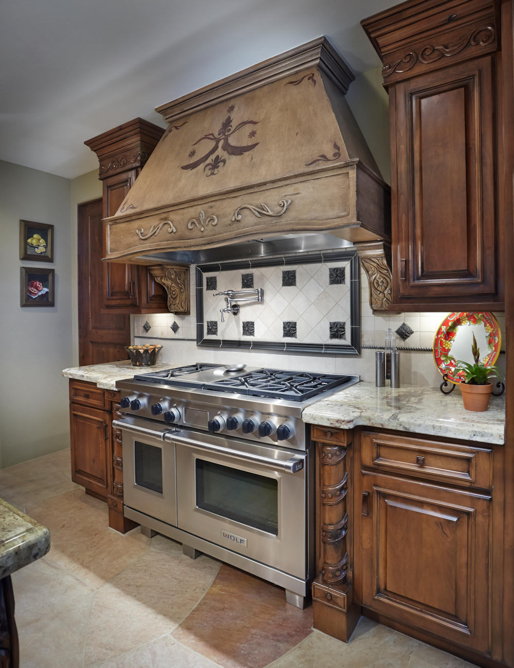 ... Granite Kitchen Countertops Old World Spanish, Custom Stovetop Hood  With Hand Carved Distressed Finish And A Carved ...