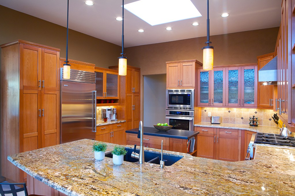 Lovely ... Transitional Kitchen Remodel With Alder Kitchen Cabinets Topped With  Updated Dentil Molding, Granite And Slate ...